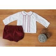 Conjunto Pantalón y Camisa Niño Vino