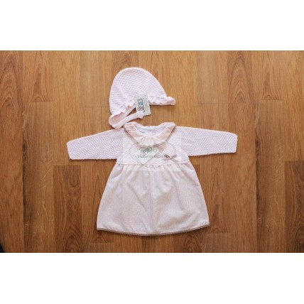 Vestido bebe rosa con capota
